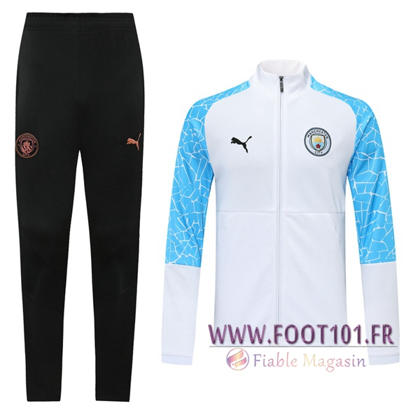 Ensemble Survetement de Foot - Veste Manchester City Blanc 2020/2021