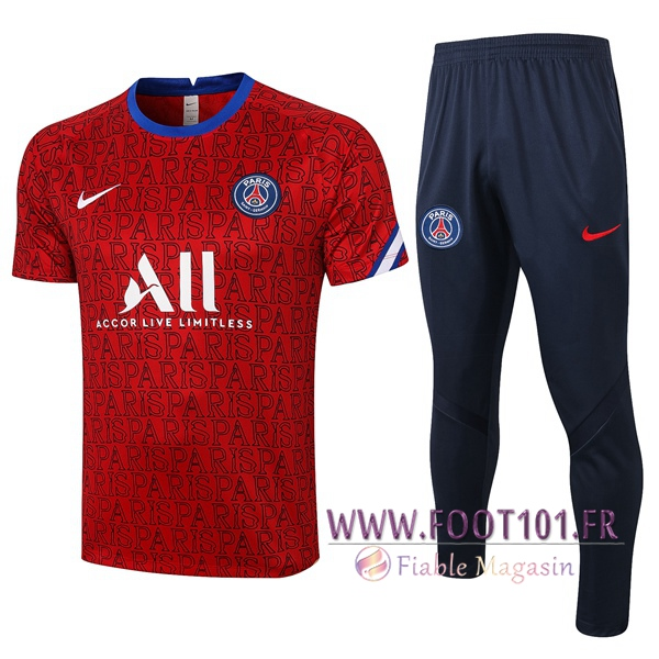 Training T-Shirts Paris PSG + Pantalon Rouge 2020/2021