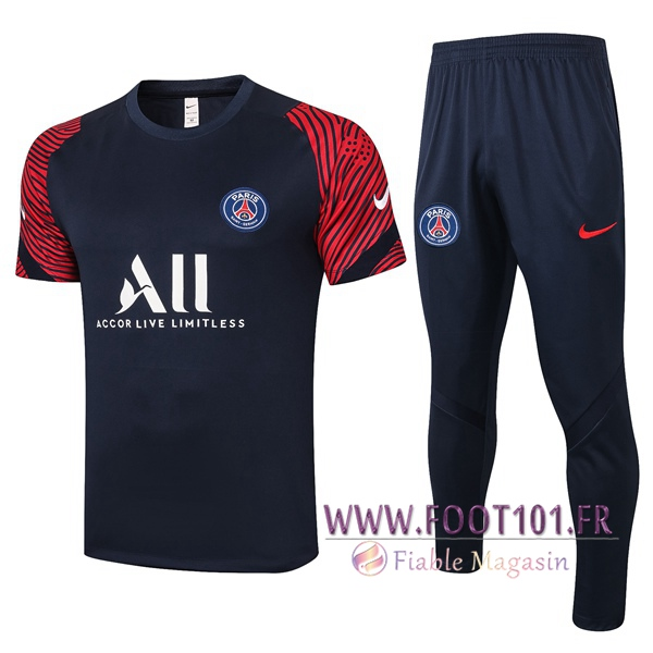Training T-Shirts Paris PSG + Pantalon Bleu Royal 2020/2021
