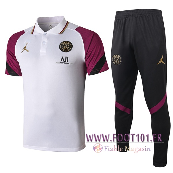 Ensemble Polo Paris PSG + Pantalon Blanc 2020/2021