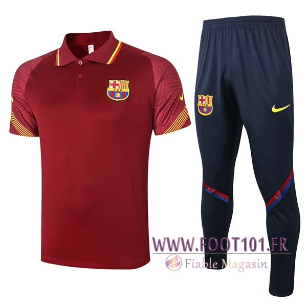 Ensemble Polo FC Barcelone + Pantalon Rouge 2020/2021