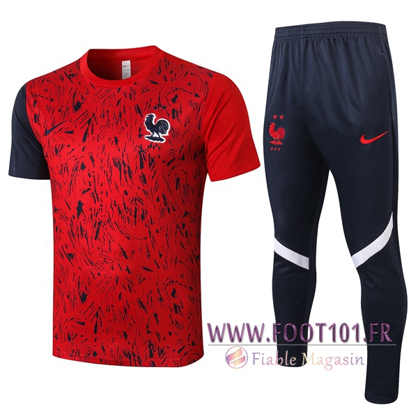 Training T-Shirts France + Pantalon Rouge 2020/2021