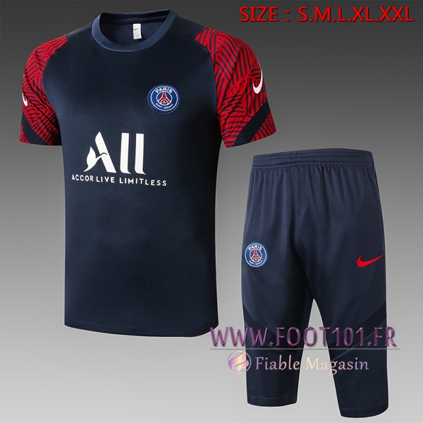 Training T-Shirts Paris PSG + Pantalon 3/4 Bleu 2020/2021