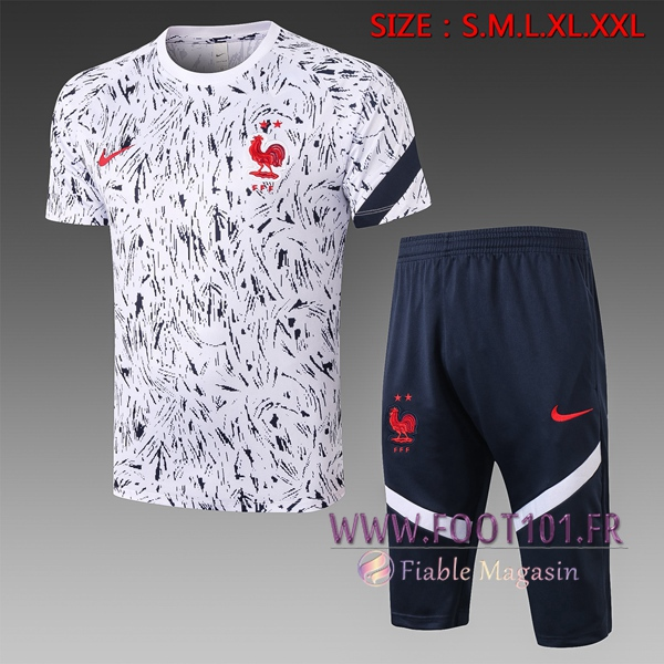 Training T-Shirts France + Pantalon 3/4 Blanc 2020/2021