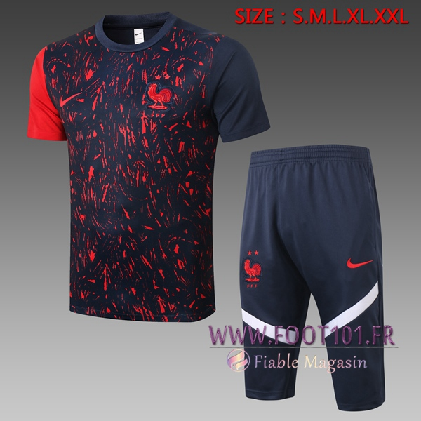 Training T-Shirts France + Pantalon 3/4 Noir 2020/2021