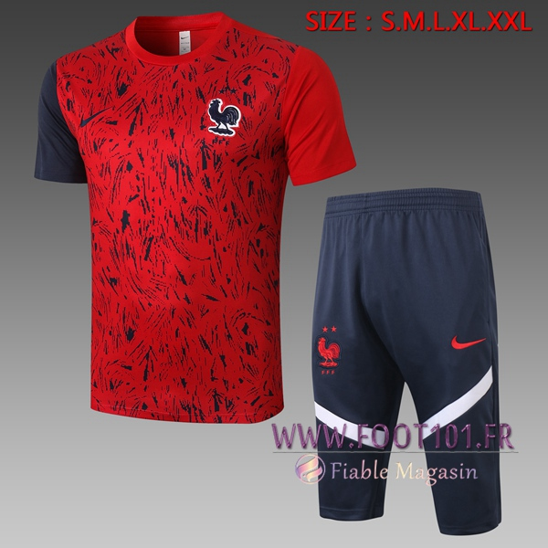 Training T-Shirts France + Pantalon 3/4 Rouge 2020/2021