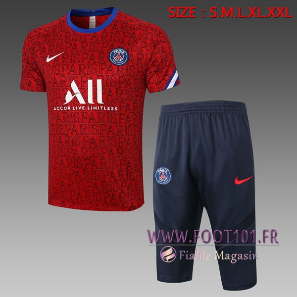 Training T-Shirts Paris PSG + Pantalon 3/4 Rouge 2020/2021