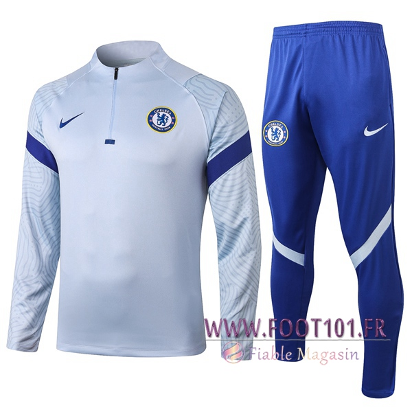 Ensemble Survetement de Foot FC Chelsea Gris 2020/2021