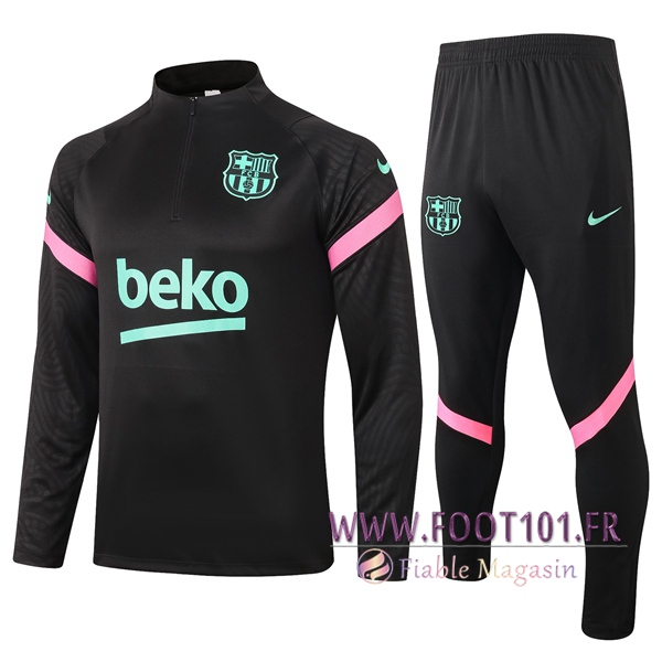 Ensemble Survetement de Foot FC Barcelone Noir 2020/2021