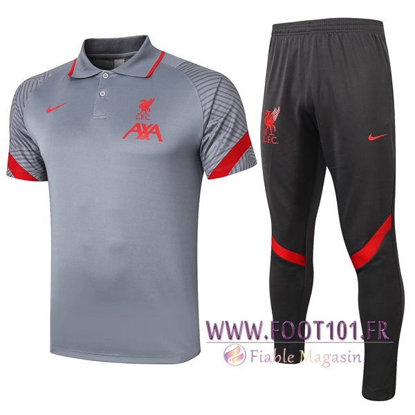 Ensemble Polo FC Liverpool + Pantalon Gris 2020/2021