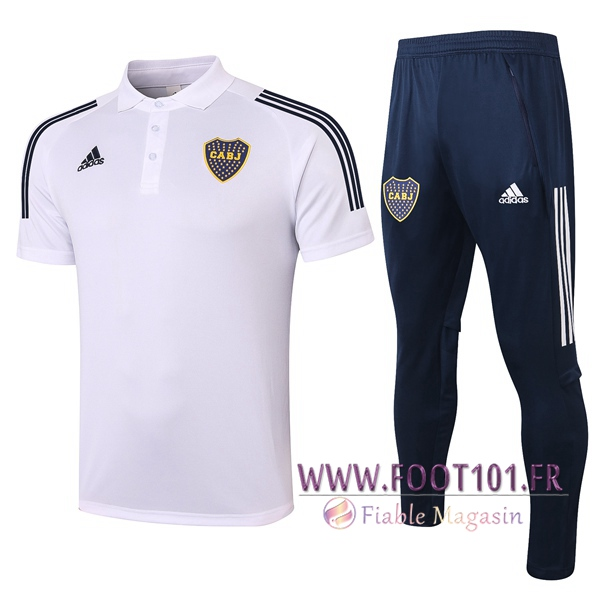Ensemble Polo Boca Juniors + Pantalon Blanc 2020/2021