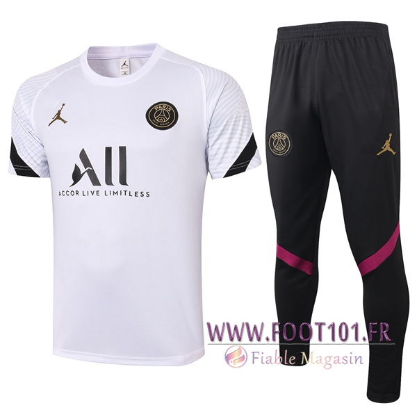 Training T-Shirts Paris PSG + Pantalon Blanc 2020/2021