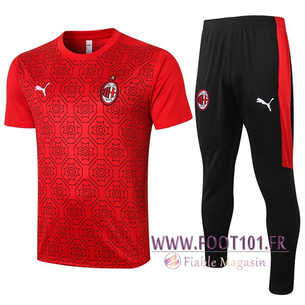 Training T-Shirts Milan AC + Pantalon Rouge 2020/2021