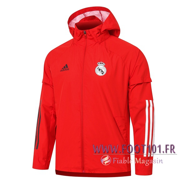 Nouveau Coupe-Vent Real Madrid Rouge 2020/2021
